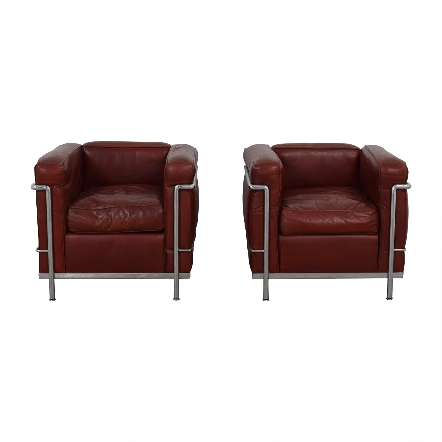 74% OFF - Cassina Cassina Le Corbusier LC2 Red and Chrome Accent ...