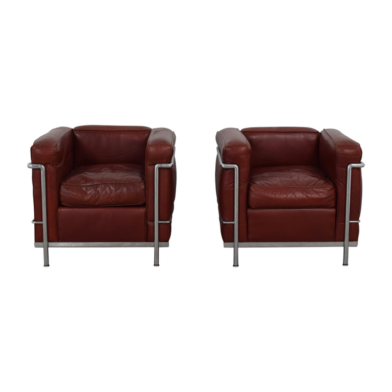 Cassina Cassina Le Corbusier LC2 Red and Chrome Accent Chairs for sale