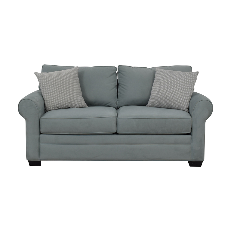 buy Raymour & Flanigan Cindy Crawford Home Glendora Blue Microfiber Loveseat Raymour & Flanigan Sofas