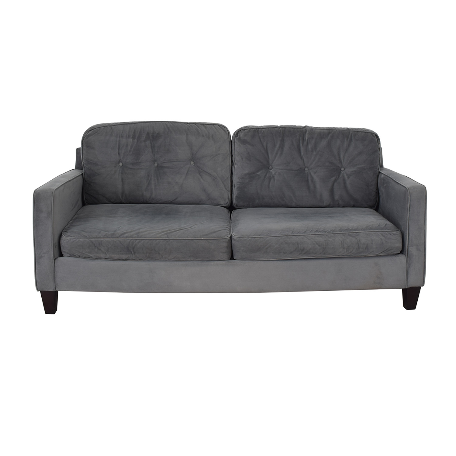 Raymour & Flanigan Raymour & Flanigan Granite Grey Tufted Two-Cushion Sofa price