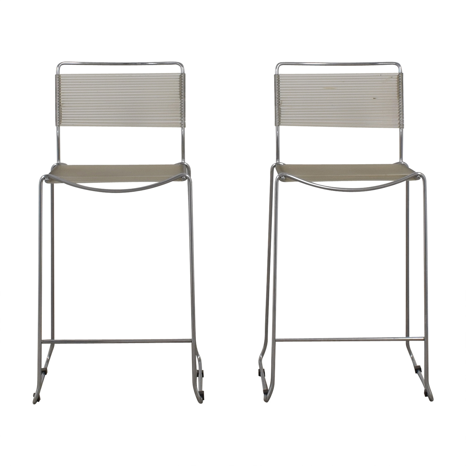 White and Chrome Stools White/metal