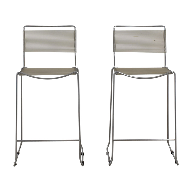 White and Chrome Stools on sale