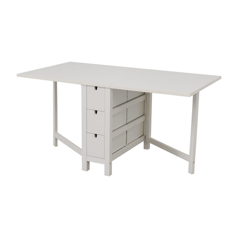 IKEA IKEA Norden Gatleg White Extendable Folding Three-Drawer Table on sale