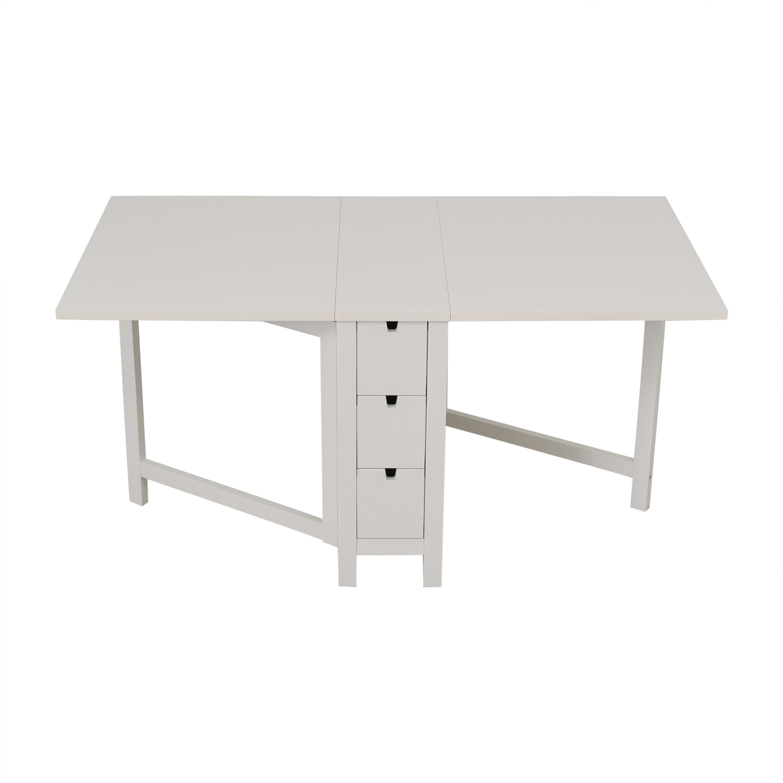 IKEA IKEA Norden Gatleg White Extendable Folding Three-Drawer Table discount
