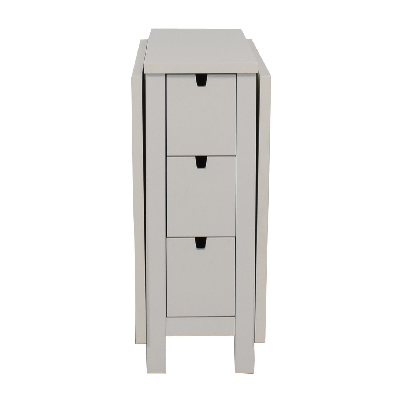 IKEA IKEA Norden Gatleg White Extendable Folding Three-Drawer Table dimensions