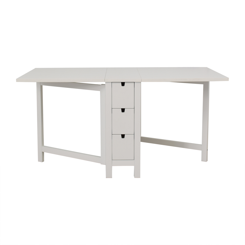 wholesale dealer 7757a 78bf3 68% OFF - IKEA IKEA Norden Gatleg White Extendable Folding Three-Drawer  Table / Tables