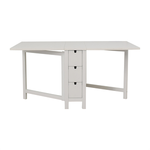 IKEA Norden Gatleg White Extendable Folding Three-Drawer Table sale