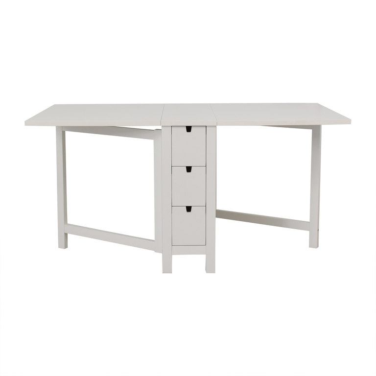 shop IKEA Norden Gatleg White Extendable Folding Three-Drawer Table IKEA