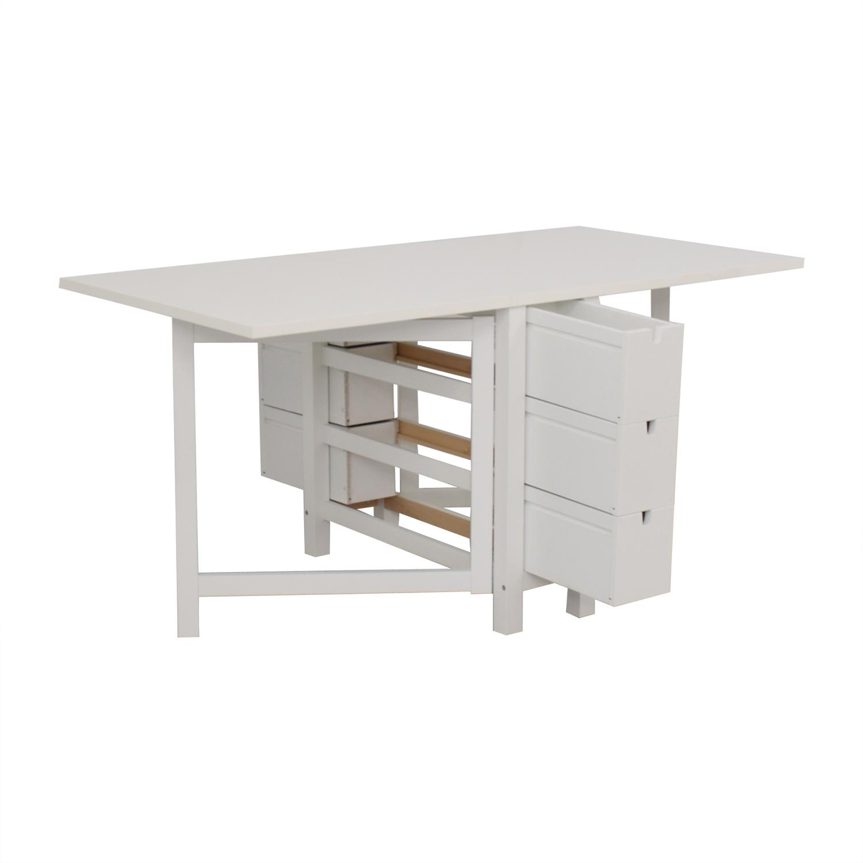 shop IKEA Norden Gatleg White Extendable Folding Three-Drawer Table IKEA Tables