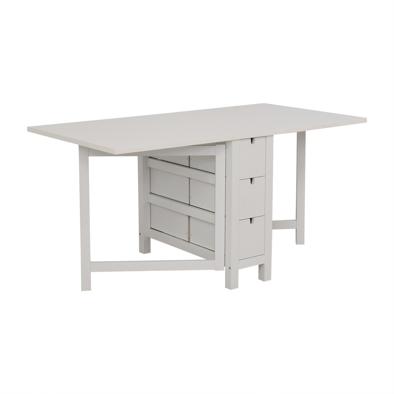 IKEA IKEA Norden Gatleg White Extendable Folding Three-Drawer Table white