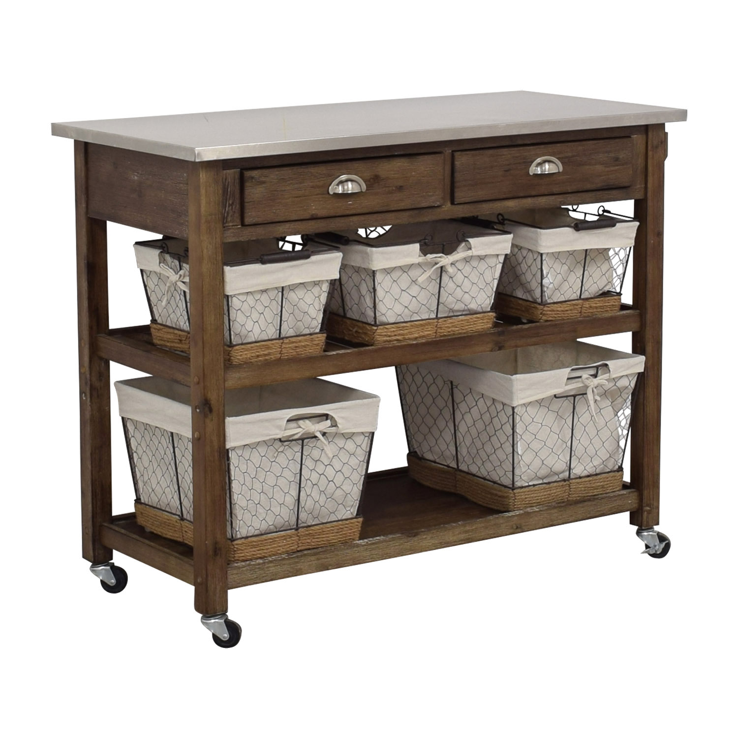 Home Styles Home Styles Two-Drawer Utility Cart with Steel Top and Five Wire Baskets discount