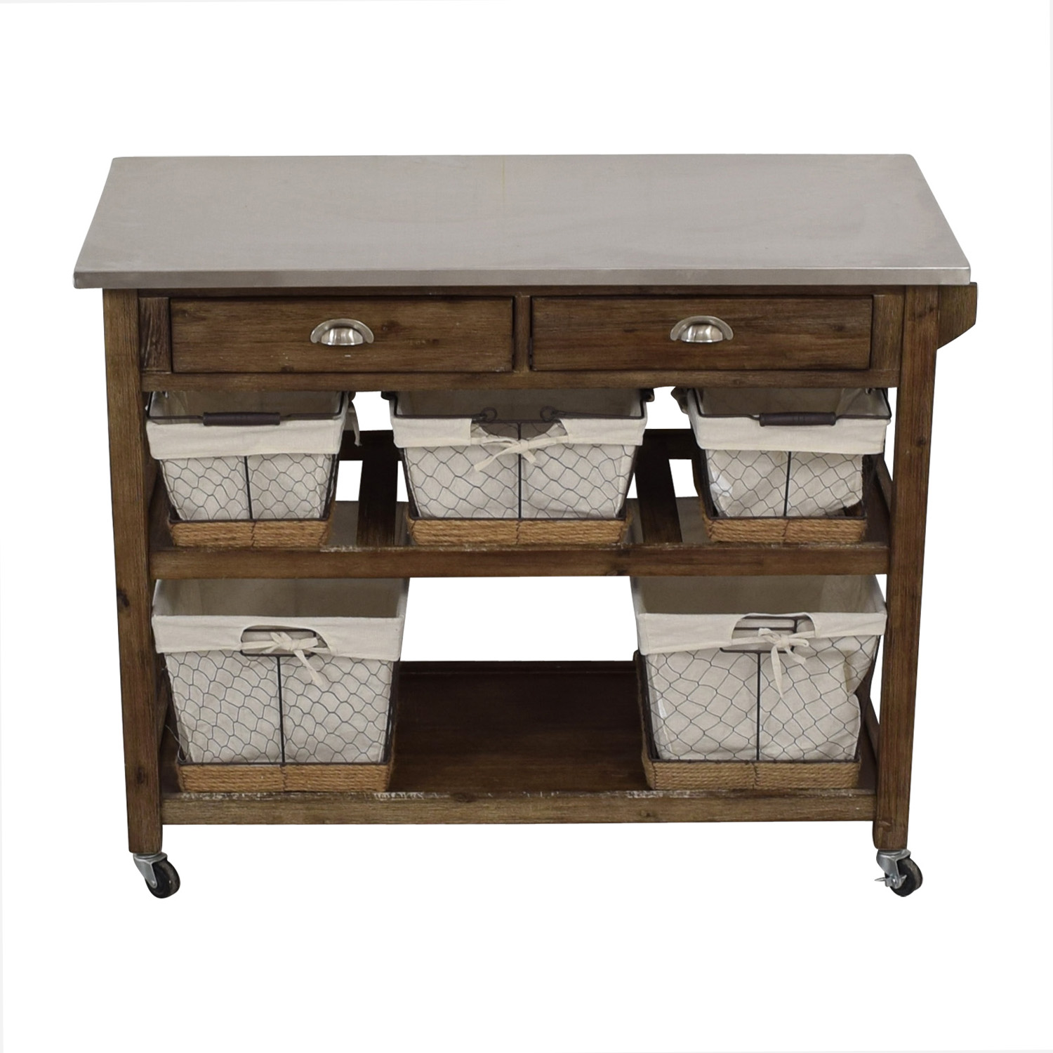 Home Styles Home Styles Two-Drawer Utility Cart with Steel Top and Five Wire Baskets for sale