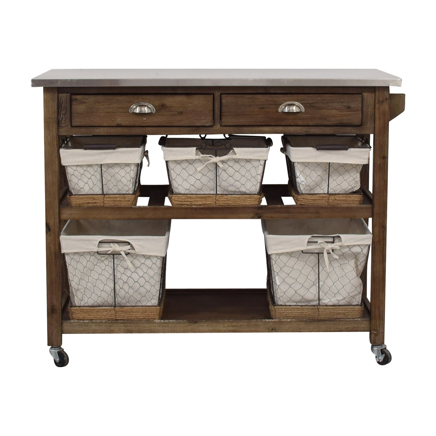 Home Styles Home Styles Two-Drawer Utility Cart with Steel Top and Five Wire Baskets coupon