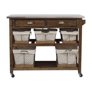 Home Styles Two-Drawer Utility Cart with Steel Top and Five Wire Baskets / Tables