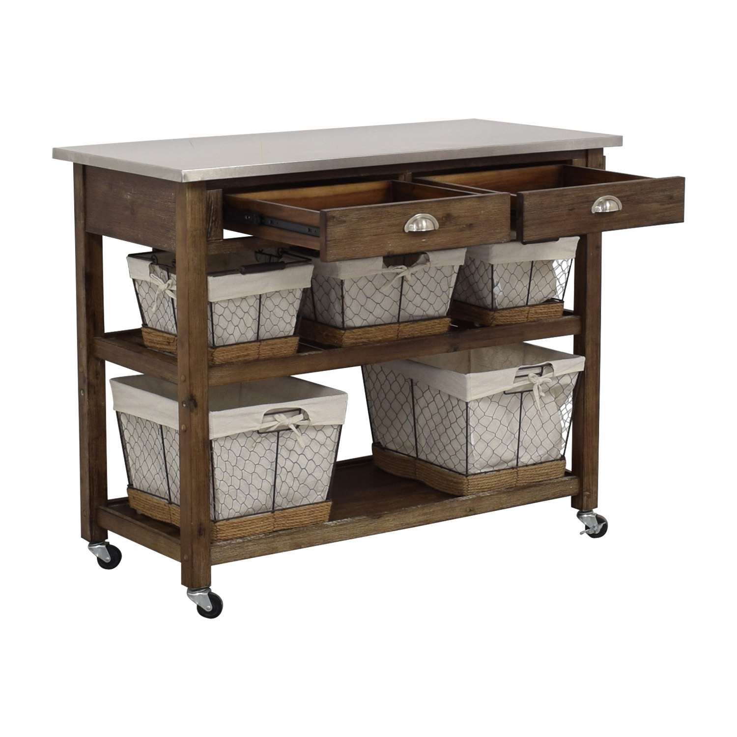 Home Styles Home Styles Two-Drawer Utility Cart with Steel Top and Five Wire Baskets Tables