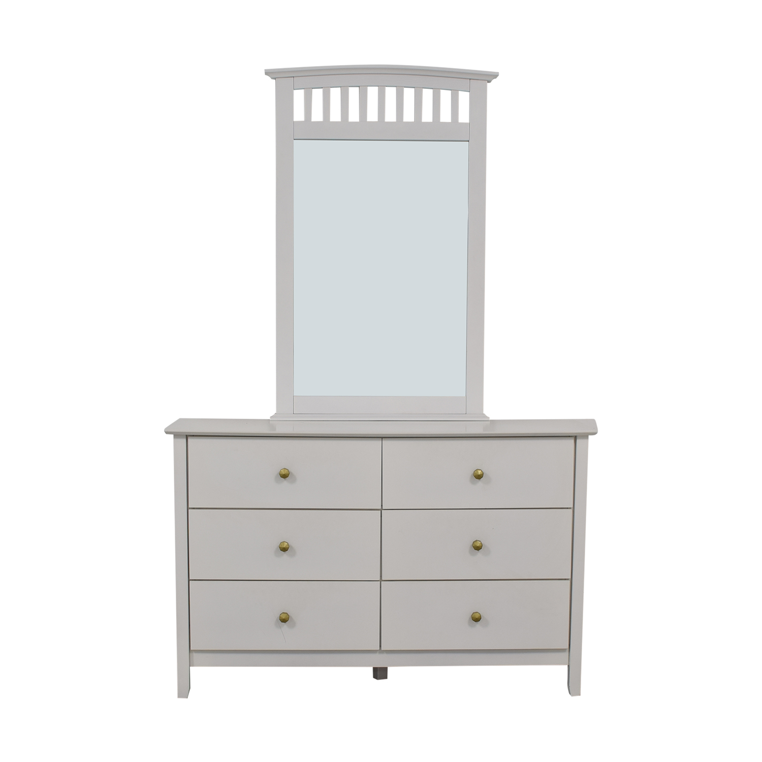 Bob's Discount Furniture White Six-Drawer Dresser with Mirror Bob's Discount Furniture