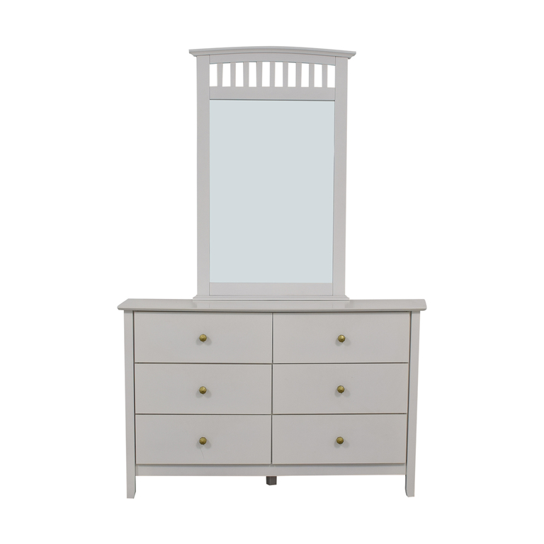 shop Bob's Discount Furniture Bob's Discount Furniture White Six-Drawer Dresser with Mirror online