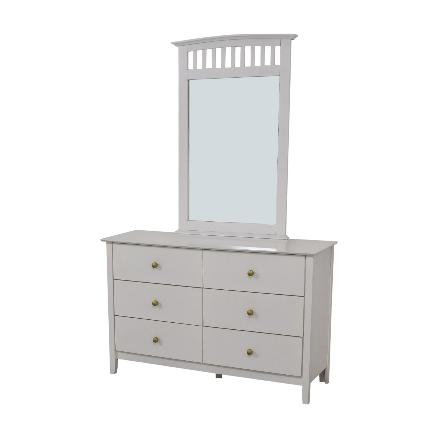 Bob's Discount Furniture Bob's Discount Furniture White Six-Drawer Dresser with Mirror second hand