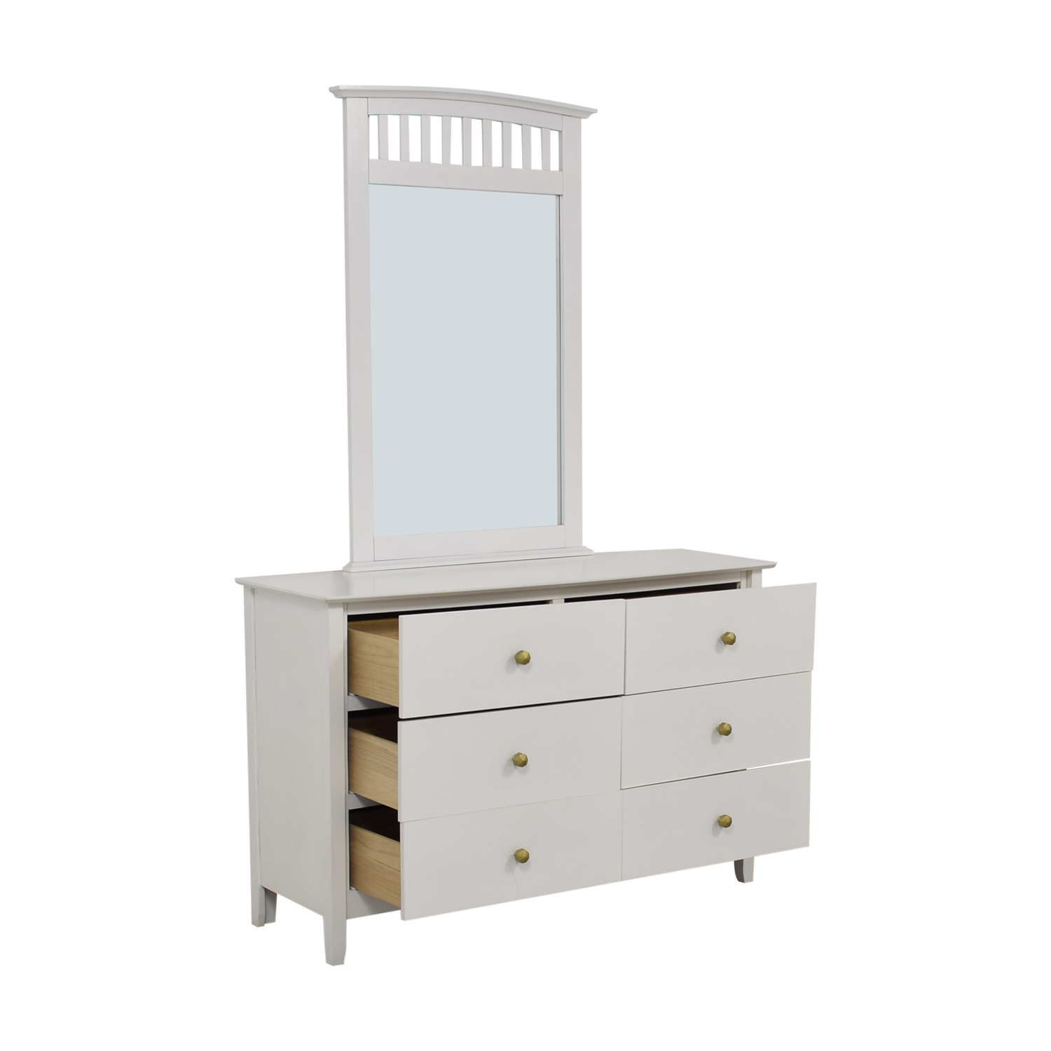 Bob's Discount Furniture Bob's Discount Furniture White Six-Drawer Dresser with Mirror Storage