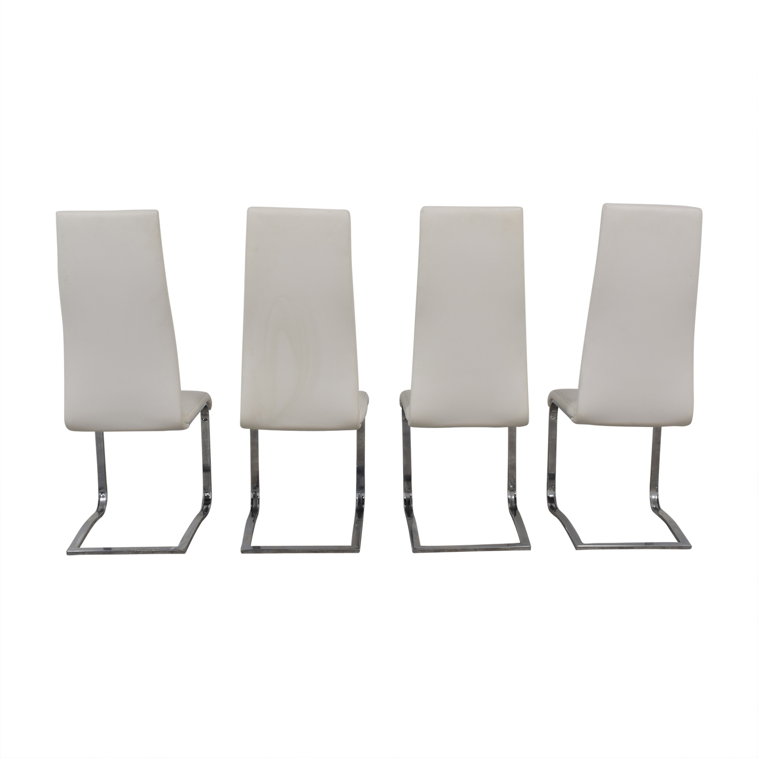 Coaster Modern White Leather Dinning Chairs Coaster