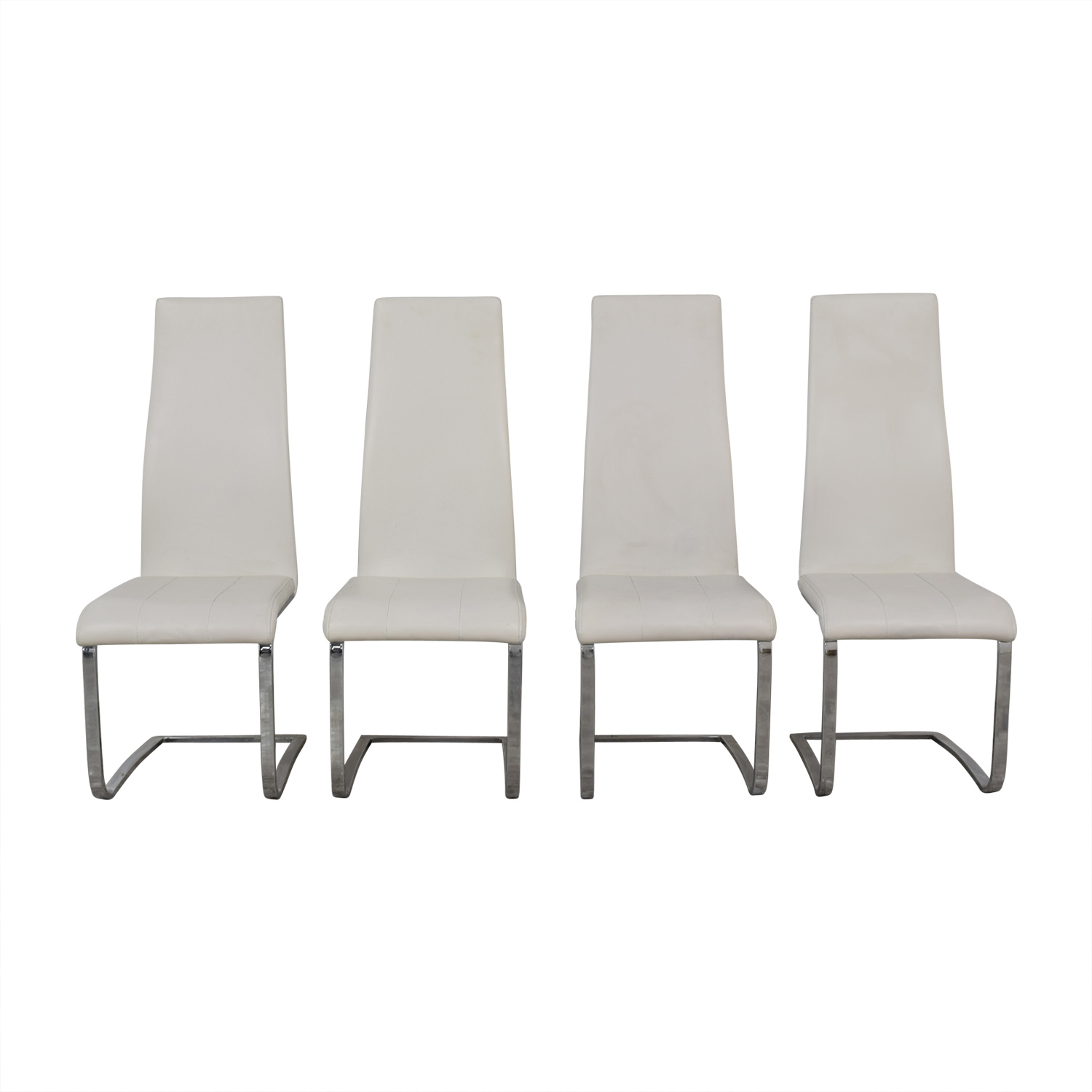 Coaster Coaster Modern White Leather Dinning Chairs for sale