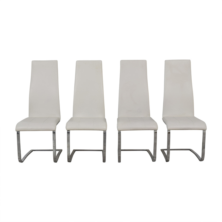 Coaster Modern White Leather Dinning Chairs sale