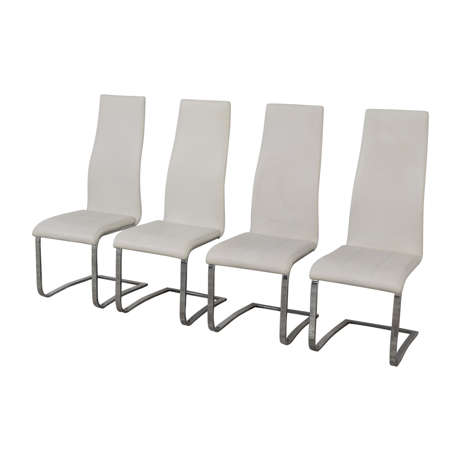 buy Coaster Modern White Leather Dinning Chairs Coaster