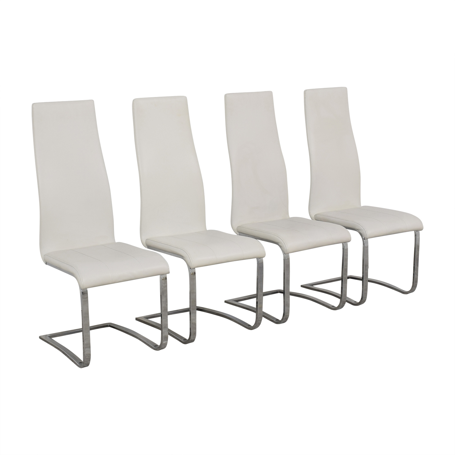 buy Coaster Modern White Leather Dinning Chairs Coaster Chairs