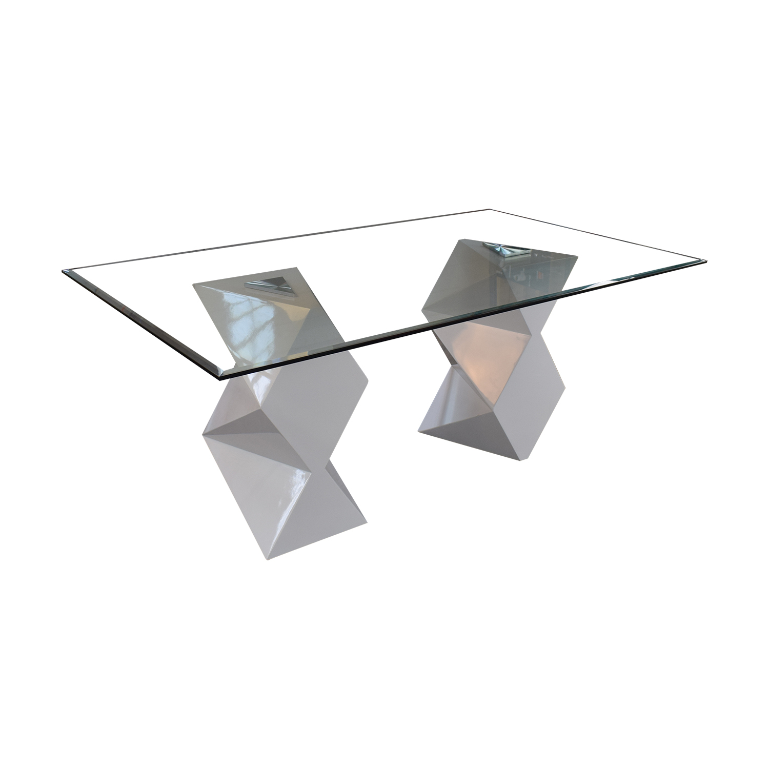 buy Modern White and Glass Dining Table