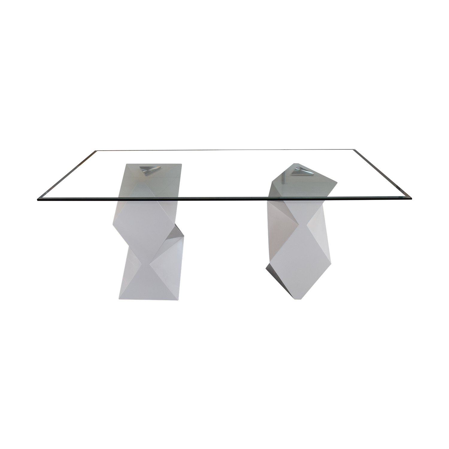 Modern White and Glass Dining Table on sale