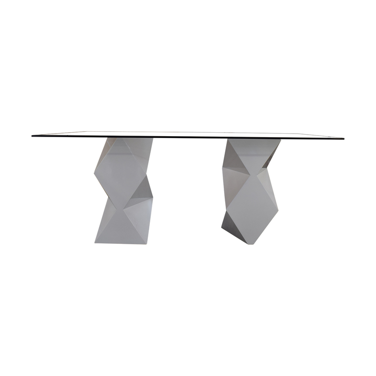 Modern White and Glass Dining Table