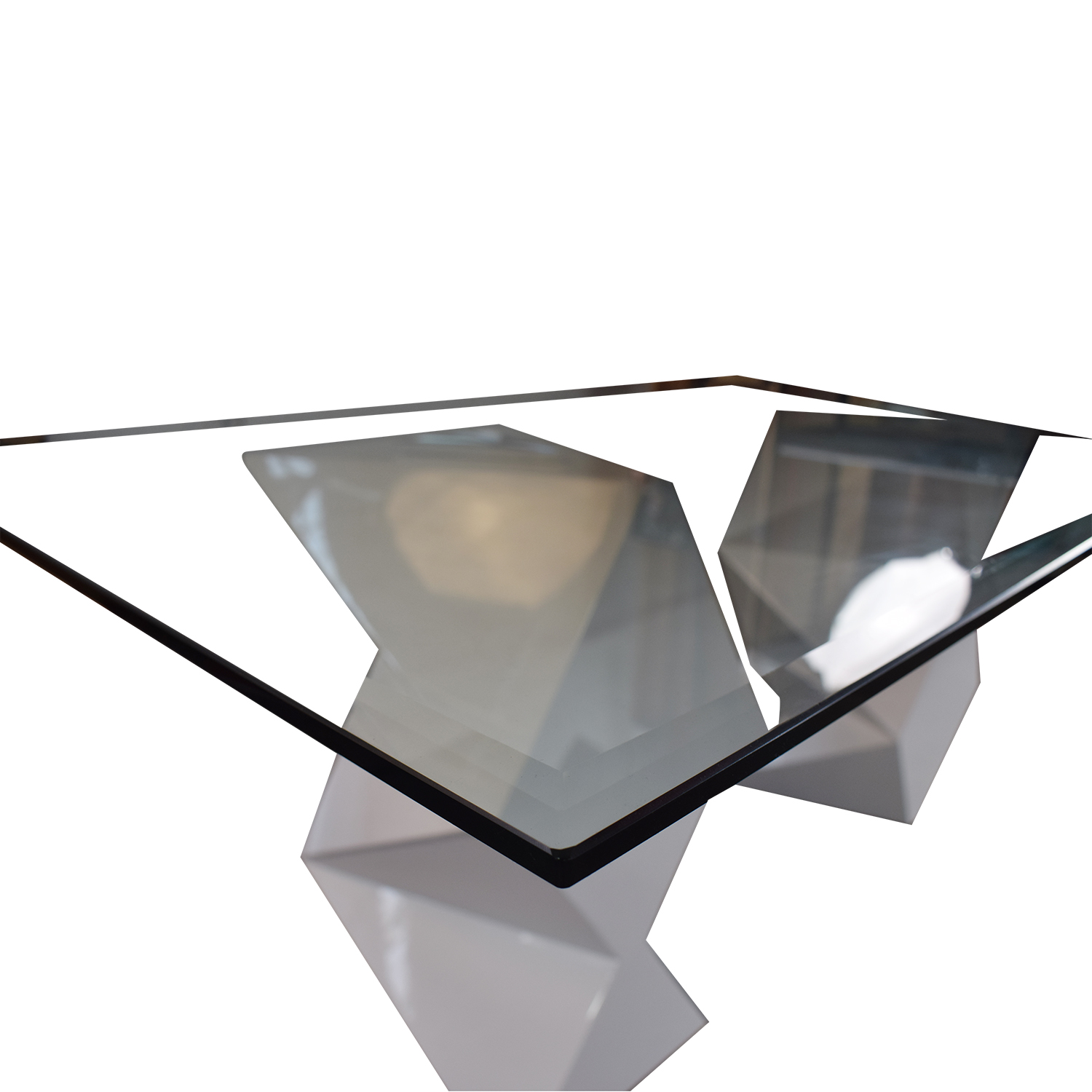 Modern White and Glass Dining Table for sale