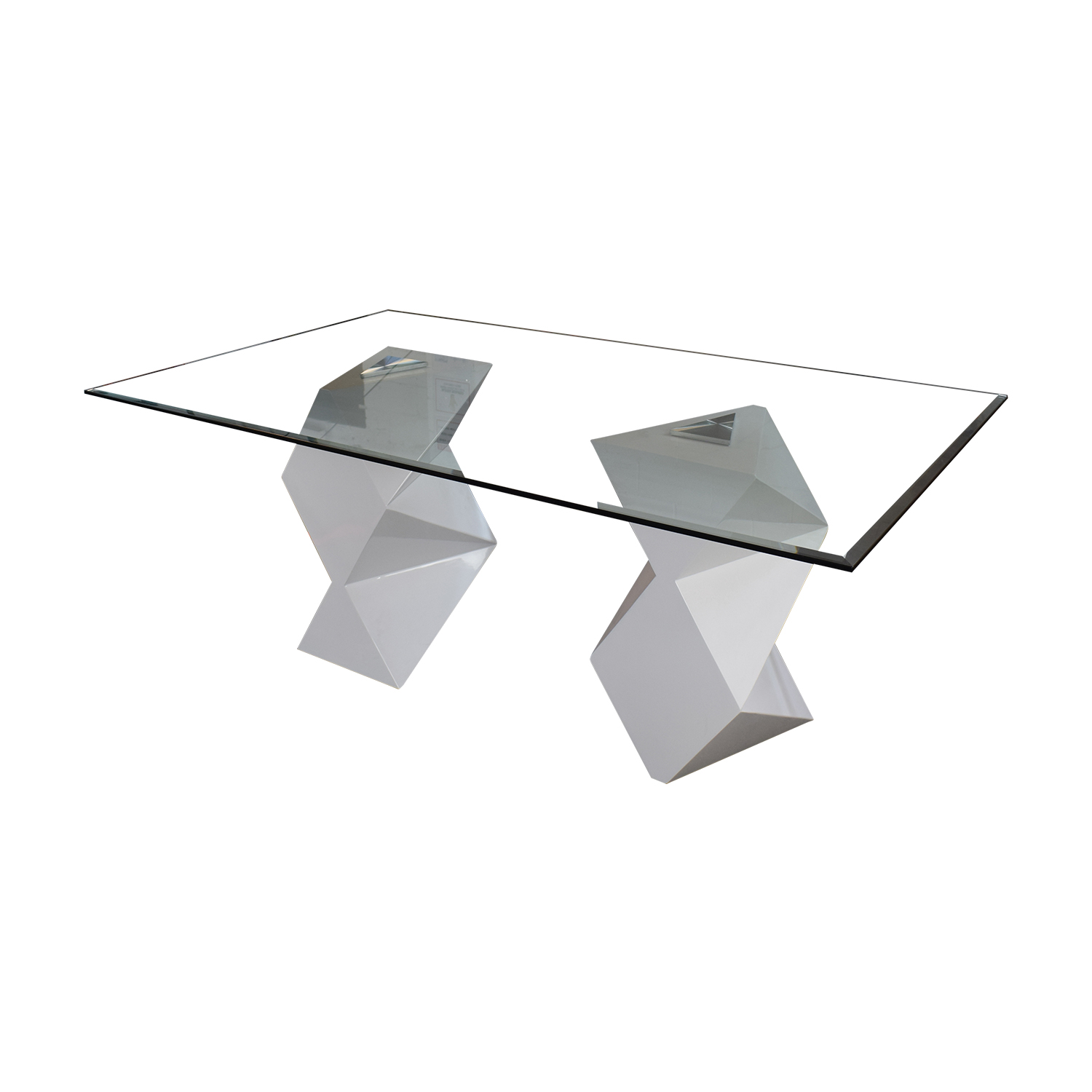 Modern White and Glass Dining Table used