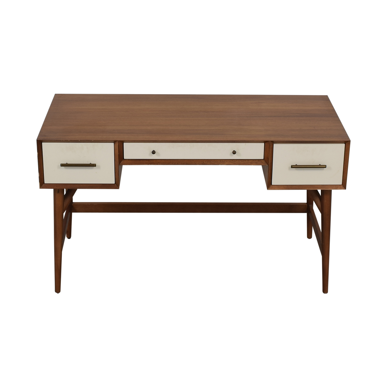 West Elm West Elm Wood and White Mid-Century Desk Three-Drawer Desk nj
