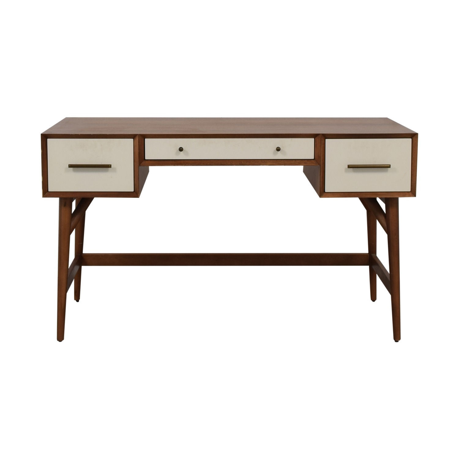 West Elm West Elm Wood and White Mid-Century Desk Three-Drawer Desk