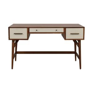 buy West Elm West Elm Wood and White Mid-Century Desk Three-Drawer Desk online