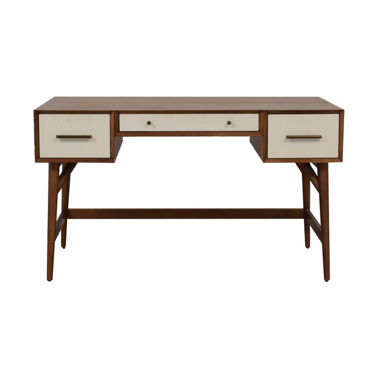 West Elm West Elm Wood and White Mid-Century Desk Three-Drawer Desk