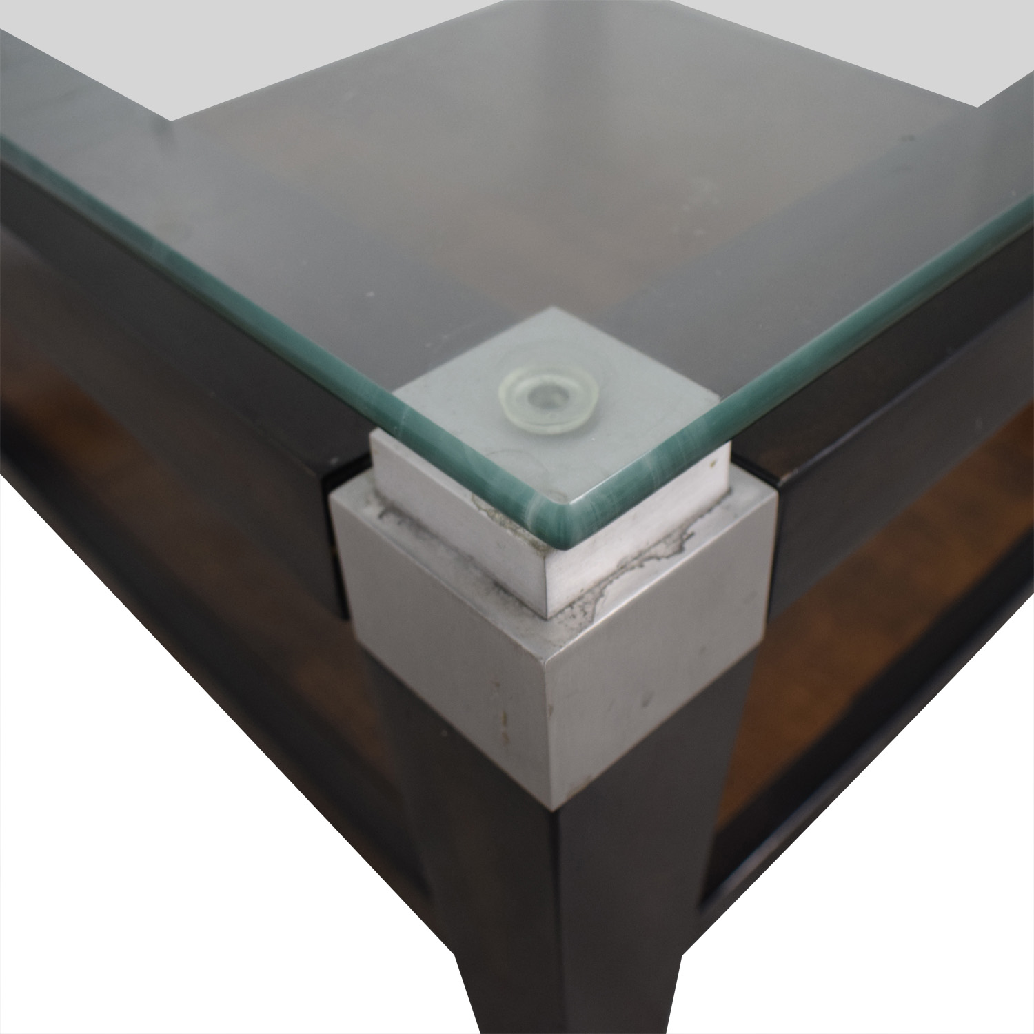Square Glass and Wood Coffee Table Tables