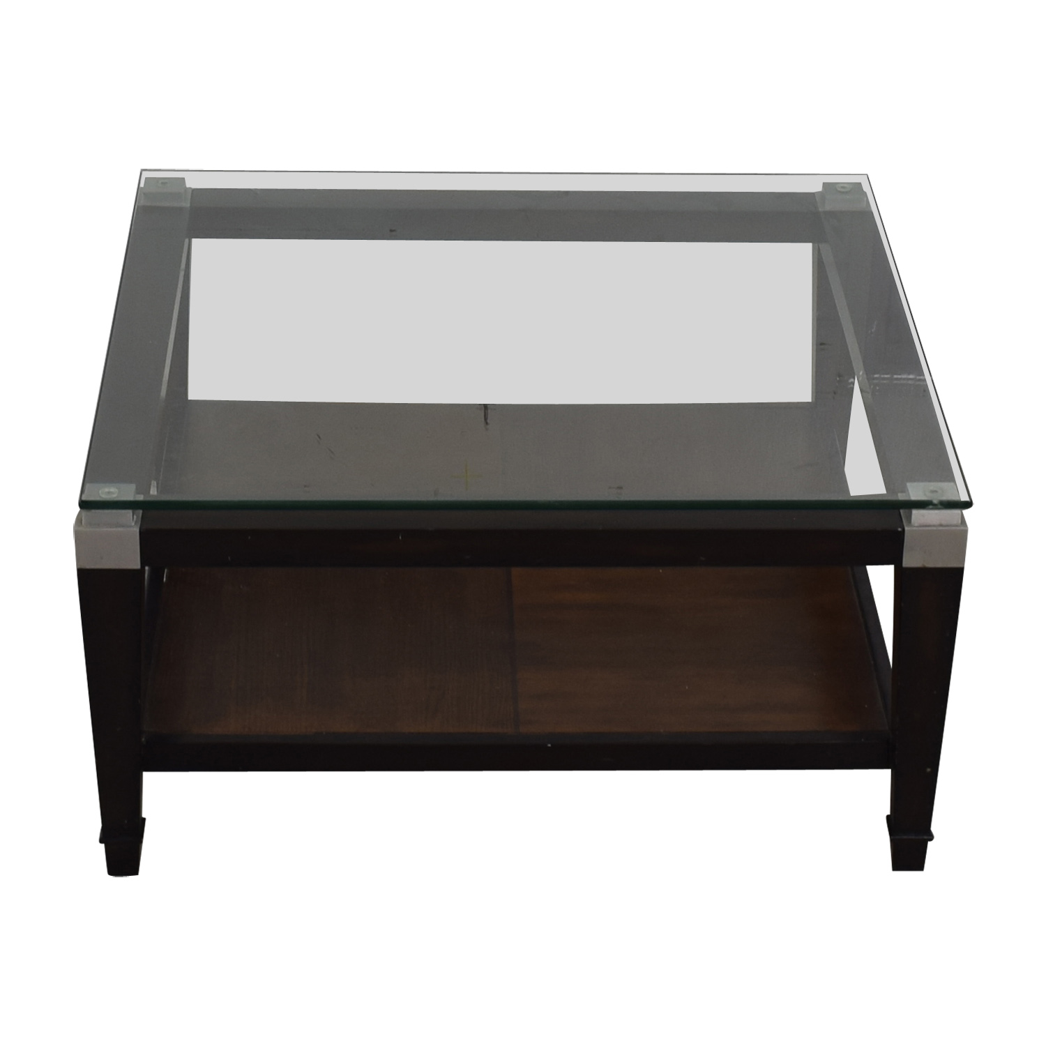 Square Glass and Wood Coffee Table Brown
