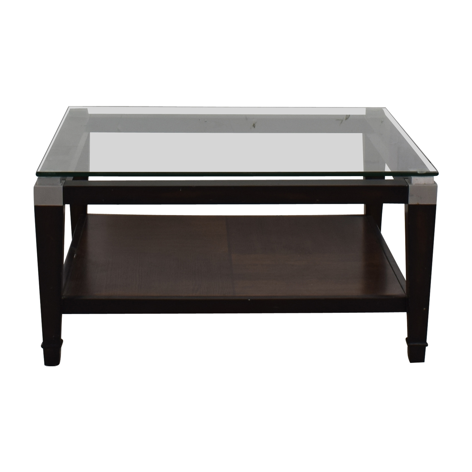 buy Square Glass and Wood Coffee Table  Coffee Tables