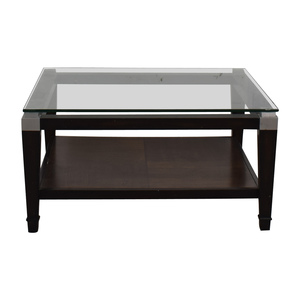 Square Glass and Wood Coffee Table sale