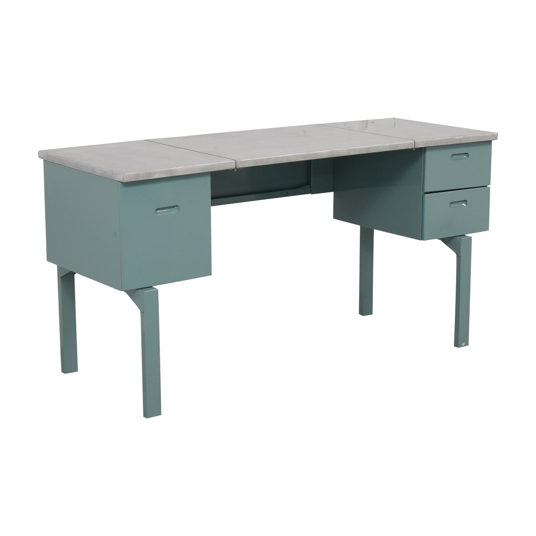 Vintage Steel and Mint Green Collapsible Military Nurses Desk / Home Office Desks