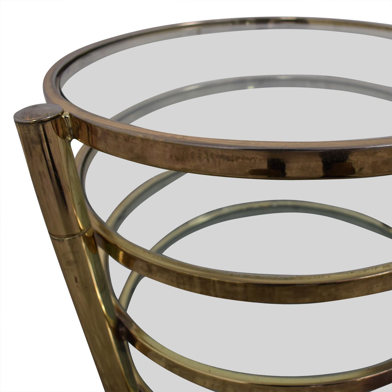 buy Mid Century Milo Baughman Style Brass Swivel Coffee Table Milo Baughman Coffee Tables
