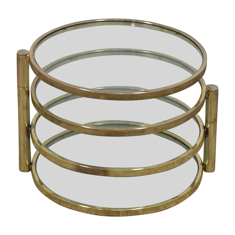 Mid Century Milo Baughman Style Brass Swivel Coffee Table Milo Baughman
