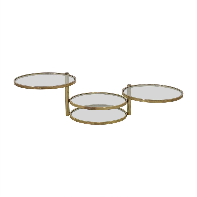 Milo Baughman Mid Century Milo Baughman Style Brass Swivel Coffee Table coupon