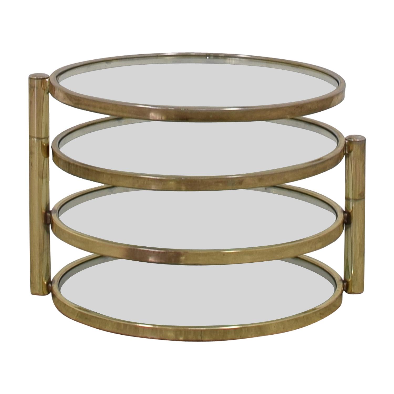 Mid Century Milo Baughman Style Brass Swivel Coffee Table / Tables