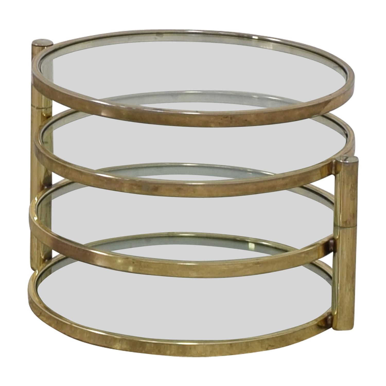 Milo Baughman Mid Century Milo Baughman Style Brass Swivel Coffee Table Tables
