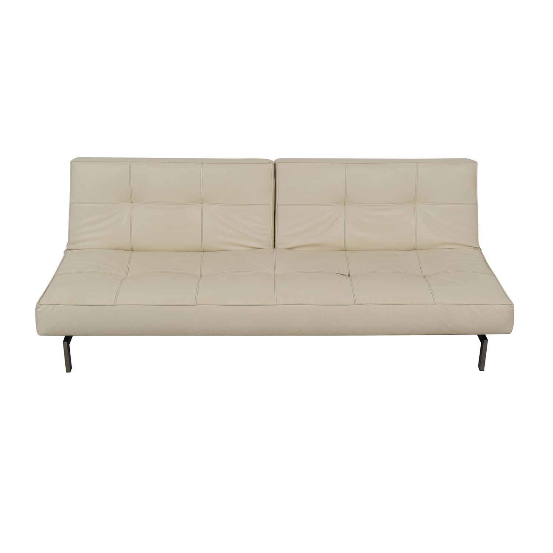87% OFF - Innovation Living Innovation White Splitback Stainless Steel  Convertible Sofa / Sofas