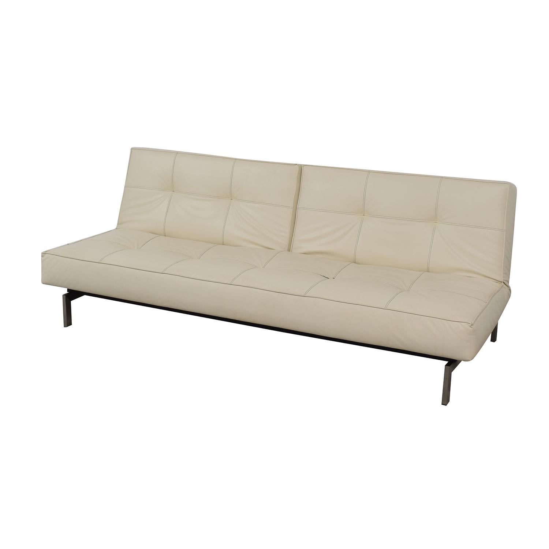87% OFF   Innovation Living Innovation White Splitback Stainless Steel  Convertible Sofa / Sofas