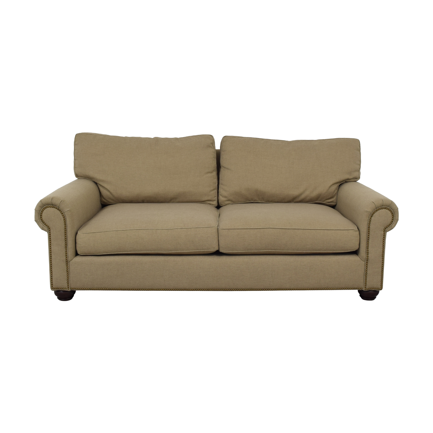 shop Pottery Barn Webster Beige Two-Cushion Couch Pottery Barn Sofas